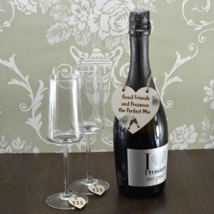 'Good Friends and Prosecco the Perfect Mix' Handmade Wine Bottle Charm With 'PFF' Wine Glass Charms
