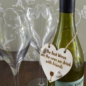 'The Best Wines are Drunk with Friends' Handmade Wine Bottle Charm Gift Keepsake