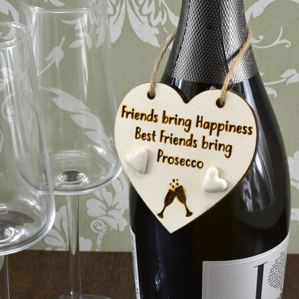 Friends Bring Happiness Best Friends Bring Prosecco Handmade Wine Bottle Charm Keepsake Gift Tag