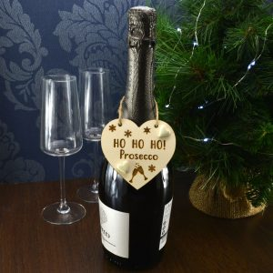 'Ho Ho Ho Prosecco' Handmade Christmas Wine Bottle Charm Tag Gift Sign Keepsake