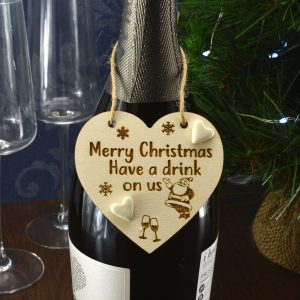 'Merry Christmas have a drink on us' Handmade Christmas Wine Bottle Charm Tag Gift