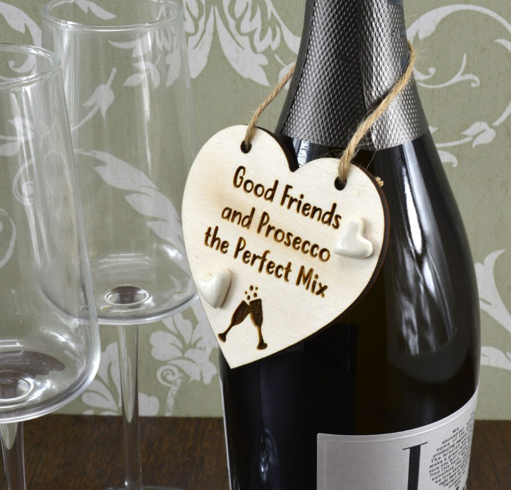 Good Friends and Prosecco The Perfect Mix Handmade Wine Bottle Charm Gift Tag Keepsake