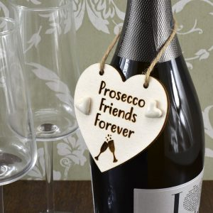 'Prosecco Friends Forever' Handmade Wine Bottle Charm Tag Gift Sign Keepsake