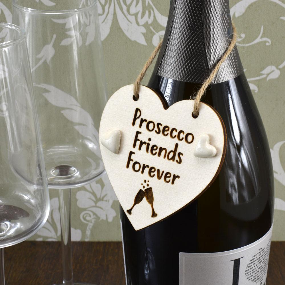 'Prosecco Friends Forever' Handmade Wine Bottle Charm Gift Keepsake