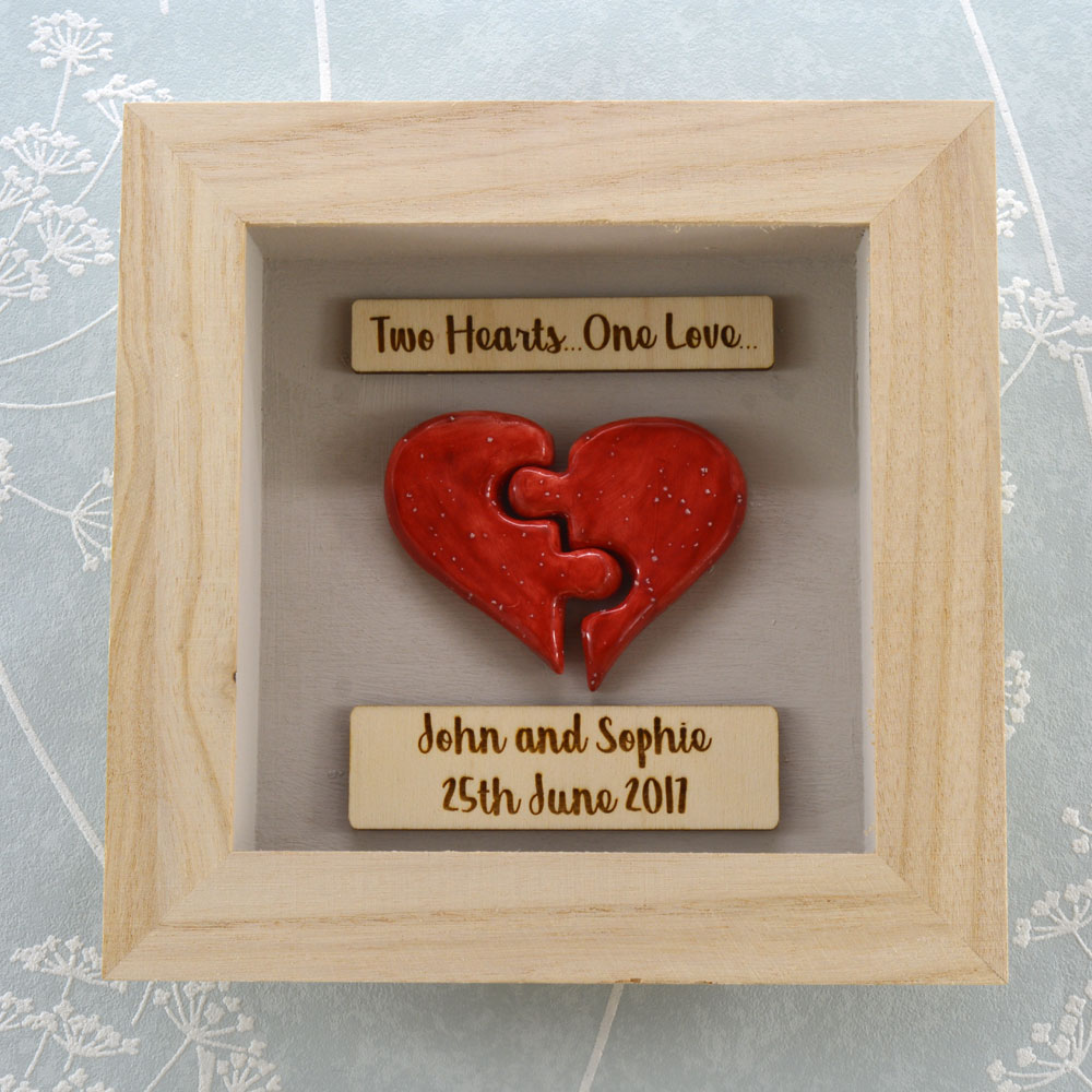 Handmade Red Ceramic Jigsaw Heart in a Frame