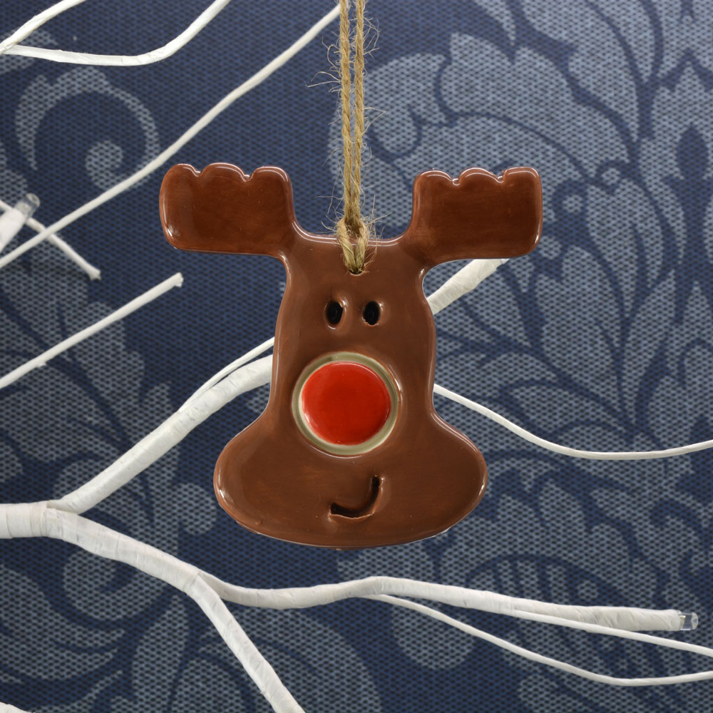 handmade ceramic rudolph the red nosed reindeer christmas decoration