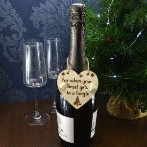 'For when your tinsel gets in a tangle' Handmade Christmas Wine Bottle Charm Tag Gift