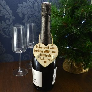 'Pairs well with Turkey and difficult Relatives' Handmade Christmas Wine Bottle Charm Tag Gift